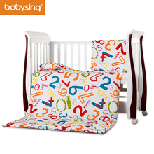 Baby Bedding Set 100% Cotton Letters & Numbers Prints Pillowcase Duvet Cover Nursery Cot Bed Quilt Pillow Mattress with Filling(China)