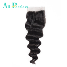 Ali Peerless Hair Loose Wave Closure 4*4 Swiss Lace Free Part Virgin Human Hair Lace Closure Natural Color Free Shipping(China)