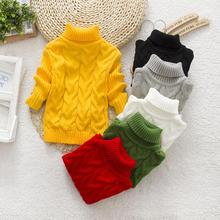 2017 new fashion mouse pure color winter boy girl  thick Knitted bottoming turtleneck shirts solid high collar sweater