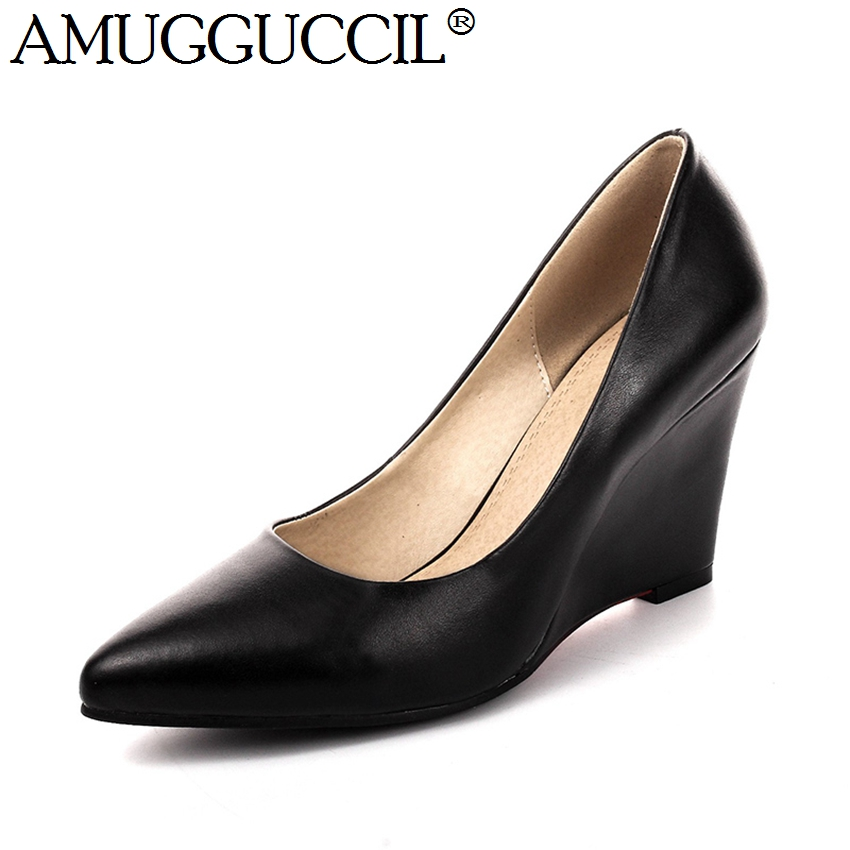 2018 New Genuine Leather Plus Big Size 33-40 Black White Fashion Sexy Wedges Spring Autumn Females Lady Women Shoes Pumps D1034<br>