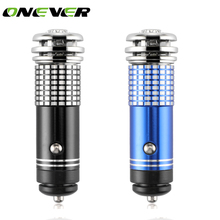 Onever Mini Car Air Purifier Oxygen Bar Ionizer Interior with LED Blue Light Car Decoration(China)
