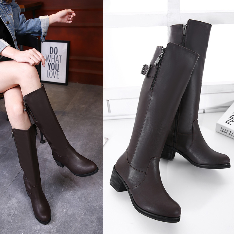 Fashion Women Winter Leather Thigh High Boots Fall Girls Buckle Over The Knee Boots Rain Snow Platform Crotch Boots Zip Shoes<br><br>Aliexpress