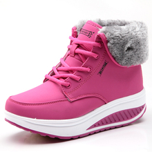 Winter Women Sports Shoes Thick Bottom Ladies Wedges Running Sneakers Plus Velvet Outdoor Platform Swing Snow Ankle Boots Pink(China)