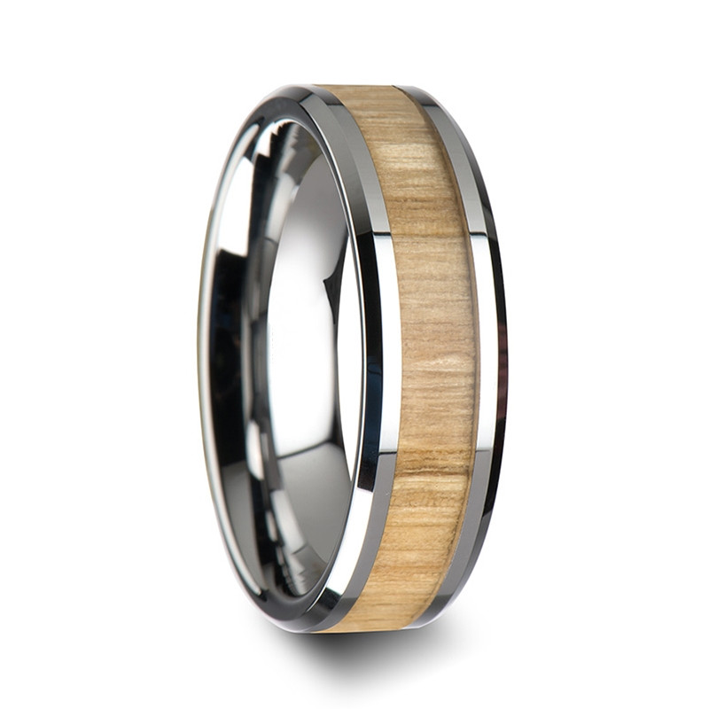 SHARDON 6mm/8mm Tungsten Ring with Polished Bevels and Ash Wood Inlay Wedding Band(China (Mainland))