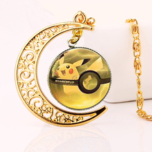 SUTEYI new gold color moon necklace anime pikachu glass cabochon pendant necklaces art picture jewelry gift girl - Era Jewelry store