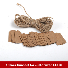 100pcs Kraft paper labels lace scallops head luggage wedding etiquette Rating DIY chain Blank hang tag Kraft Be customized LOGO(China)