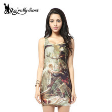 [You're My Secret] 2017 HOT Fashion Women Dress With Napoleon Print Galaxy Dress Casual Sexy Tank Dress Sleeveless Women Shirt