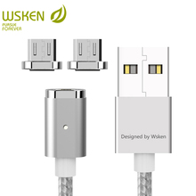WSKEN Mini 2 LED Magnetic USB Cable Fast Charging Magnetic Charger Micro USB Cable Samsung S6 S7 Edge Micro USB Devices 1M