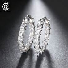 ORSA JEWELS Fashion Ladies Loop Earring Round-Shape with 0.1ct Brilliant Austrian Cubic Zirconia Hoop Earrings for Women OE144(China)