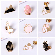 Fashion jewelry Metal Animal House Fox Design Metal Enamel Brooches Pin Jewelry wholesale