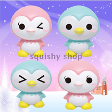 1PCS Cartoon Penguin Baby Doll Squishy Slow Rising Retail Packaging Jumbo Phone Straps Charms Scented Pendant Bread Kid Toy Gift