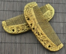 fine carved nature green wooden comb 15.5cm*5.5cm*0.9cm art comb Chinese dragon,anti-static head massage health care comb(China)