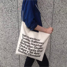 New arrival Canvas Bags American Apparel Woven Cotton City Shoulder Bag Letter Printed Cowboy Shopping Bag AAA Quality