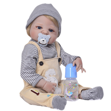 Buy 57 cm Full Silicone Reborn Dolls Kids Playmate 23 Inch Realistic Baby Dolls Sale Bebe Alive Reborn Toy Xmas Gifts Boy