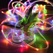 12M 100 LEDs 2W 180LM Solar Powered Rope Tube String Light With Two Lighting Modes For Christmas Parties Weddings Special Events(China)