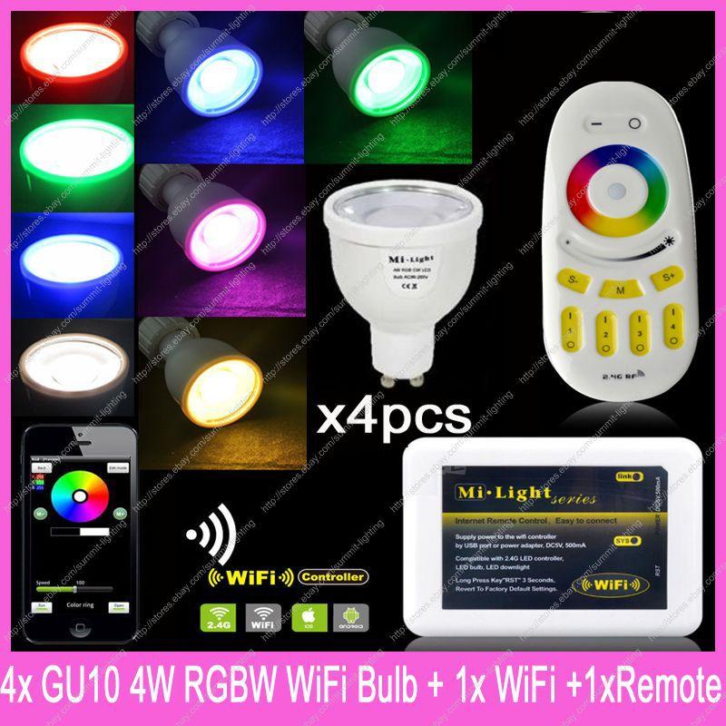 2.4G Wireless GU10 Mi.Light 5W RGBCW RGBWW LED Bulb Lamp AC85-265V WiFi Compatible 4-Zone 2.4G Wireless Touch Remote Control<br>