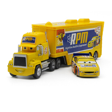 Disney Pixar Cars No.64 Mack Truck +Small Car Rpm 1:55 Diecast Metal Alloy And Plastic Modle Car Toys Gifts For Children(China)