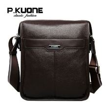 Famous P.KUONE Brand new casual Genuine cowhide leather men messenger bag man fashion shoulder bag brifcase for ipad(China)