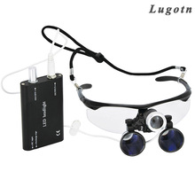 2.5X magnification binocular dental loupe with headlight led light antifog glasses medical magnifier surgery surgical loupe(China)