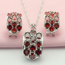 ASHLEY Red Garnet Jewelry Sets Silver Plated Children's Jewelry Parure Necklace Pendant  Hoop Earrings  for Women  Free Gift Box