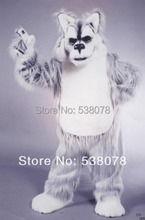 Deluxe Long Hair Light Grey Husky Mascot Costume dog Outfits Suits Carnival Advertising Stage Performance Free Ship SW691