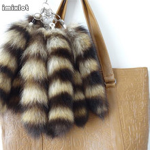 2017 New Porte Clef Monchichi Chaveiro Bunny Keychain Natural Fox Tail Keychains Fur Ring About 28cm Bag Charms Chain(China)