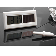 Potable Waterproof Solar Powered Digital LCD Thermometer Sensor Hydrothermograph With Cable 1M Household Thermometers