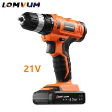 21V Reversible rechargeable lithium battery cordless electric screwdriver hand Percussion electric charging drill bit power tool(China)