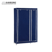 Gohide Simple Cloth Folding Non-Woven Steel Frame Wardrobe Double Layer Garderobe Home Furnishing Decoration Storage Cabinet