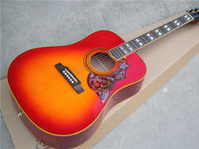 Hot Sale Custom Folk Acoustic Guitar,Cherry Sunburst Color,Huming Bird Pickguard,Soild Top,Yellow Binding,can be Customized