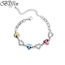Romantic Must-have Colorful Crystal From Swarovski Heart Charm Bracelet Rhodium plated for Mother's Day gift