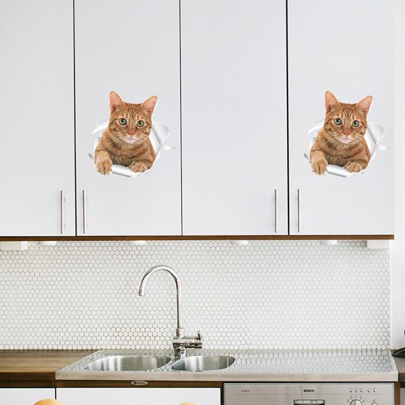 HTB1Z87zxDtYBeNjy1Xdq6xXyVXap - Funny 3d Kitten Broken Hole Sticker For Toilet-Free Shipping