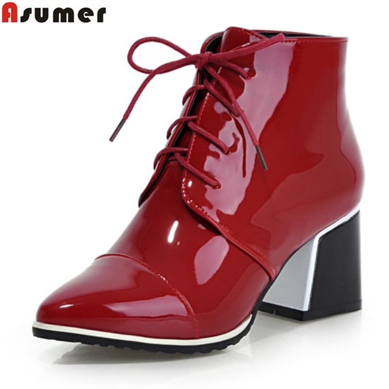 Asumer big size 33-43 fashion lace up ankle boots med heel pointed toe shoes high quality pu patent leather autumn women boots<br>