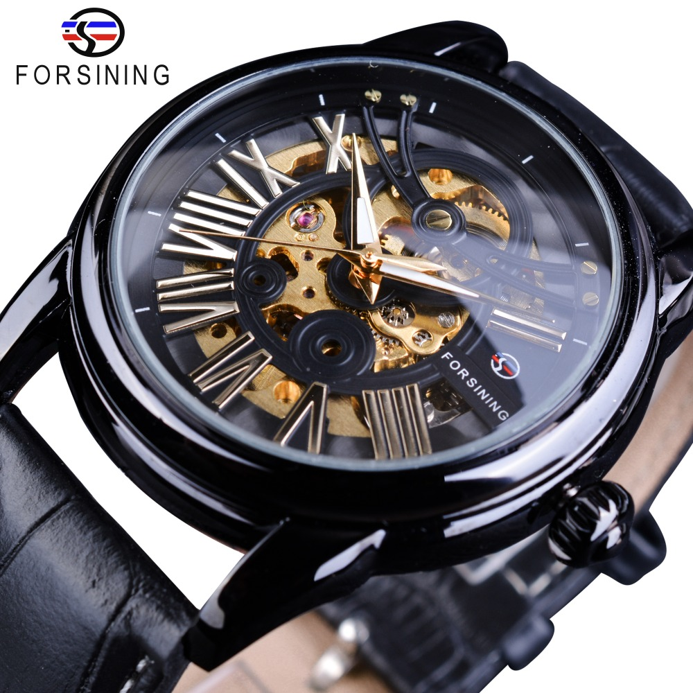 Forsining Black Bezel Roman Retro Men Automatic Watch Top Brand Luxury Automatic Fashion Skeleton Gear Gold Movement Wristwatch<br>