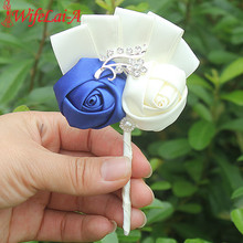 Handmade 1pcs/lot Royal Blue Ivory Wedding Corsages Boutonniere Groom Boutonniere Wedding Flowers Boutonniere Pin Brooch Custom(China)