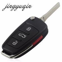 jingyuqin New Repalcement Case 3+1 Button Remote Key Shell for Audi A6 A6L Q7 Car Key Blank Case No Logo