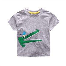 Wholesale 2017 Children Summer New Clothing T Shirts Cartoon Crocodile Bird Appliqued Boys Girls Cotton T-shirt Kids Tops Tees