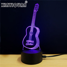 XINYIQUAN NEW Music Cool Guitar Bass 3D LED LAMP 7 Color Changing USB Touch Sensor Desk Light Night Light(China)