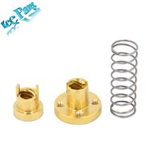 5Pcs/Lot Screw Copper Nuts Spring Kit Part For T8 Thread Dia 8mm Pitch 2mm Brass 3D Printer Parts Elimination Gap Accessories