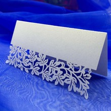 10Pcs/pack Romantic White Carved Flower Vine Paper Card Table Mark Name Place Card for Wedding Birthday Banquet Decoration