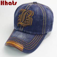 [Which in shower] Casual outdoor sports snapback hat for women men 6 panel vintage denim hat unisex distress baseball cap bone