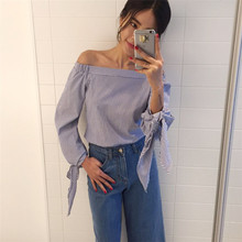 Women Blouse Elegant Bow Blue Off Shoulder Female Blouse Shirt Sexy Summer 2017 Girls White blouse Women Tops Striped Blusas 3XL(China)