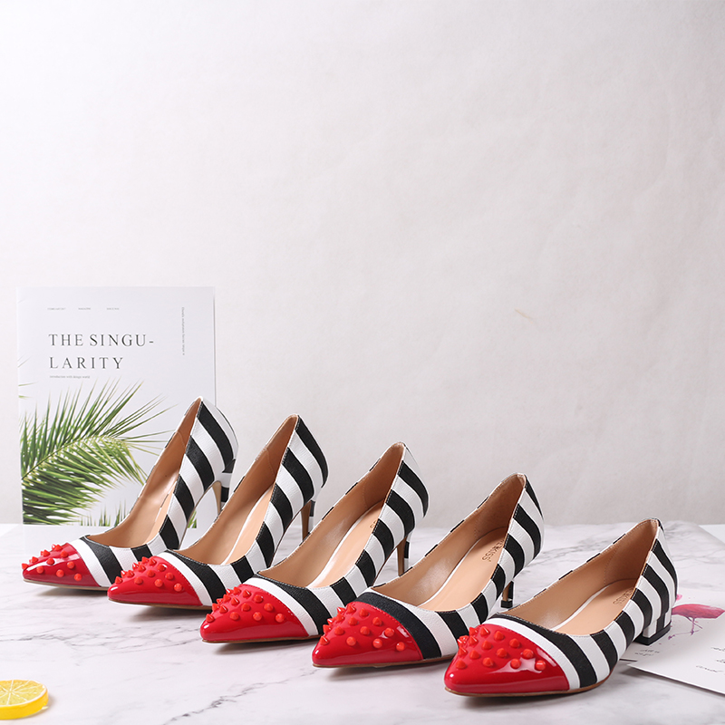 WETKISS Studded High Heels 12cm Stilettos Women Pointed Toe Rivet Ladies Party Pumps Zebra Shallow Colorful Shoes Woman 34-45 17