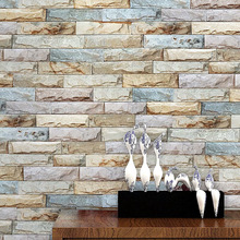Vintage Stacked Brick 3D Stone Wallpaper Roll Brick Wall Background for Living Room Pvc Vinyl Wall Paper Stereoscopic Look(China)