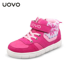 Uovo Brand Sport Shoes Kids EU 27-35 Girls Boys High Tops Sneakers Spring Autumn Winter School Shoes 4 Colors Mocassin Enfant