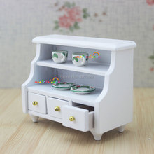 1 12 Scale Dollhouse Miniatures Furniture Kitchen Bathroom White Cabinet Chest Cupboard Wooden Toys for Bjd Doll(China)