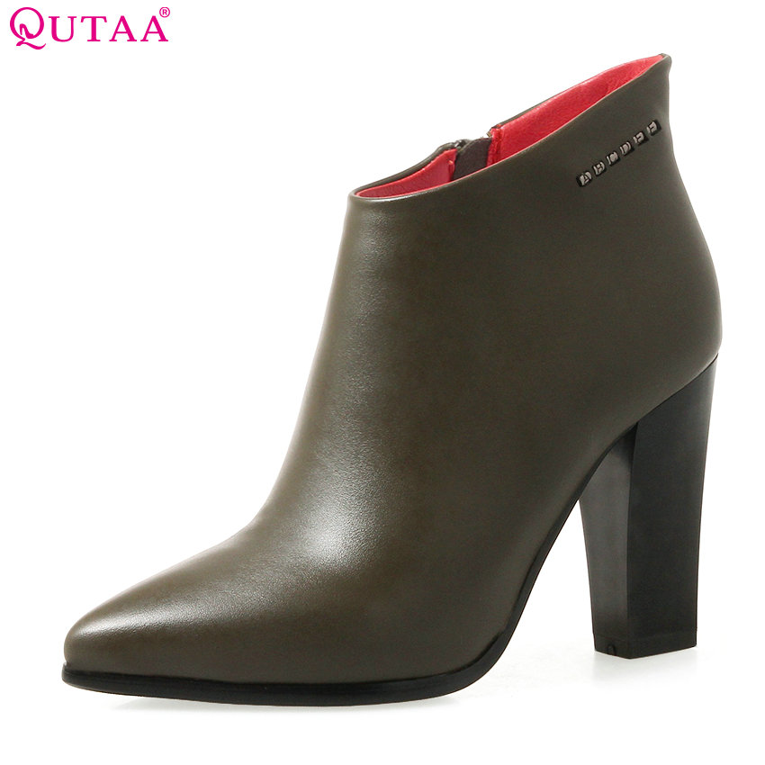 QUTAA 2018 Women Ankle Boots Zipper Deisgn Pointed Toe Women Shoes Fashion Square High Heel Ladies Motorcycle Boots Size 34-40<br>