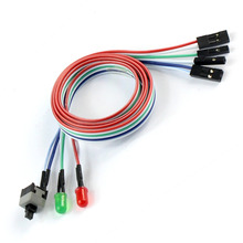 F04224 New PC Computer ATX Power Supply Reset Switch cable with LED light 50cm