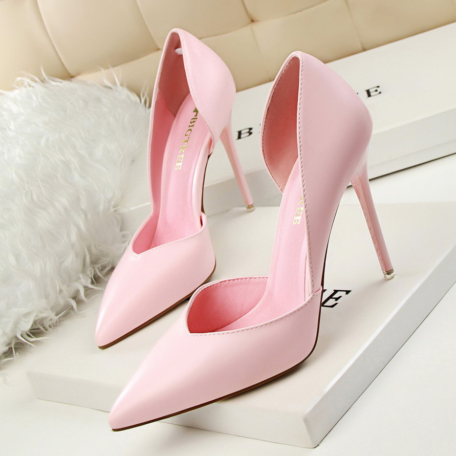 2016 summer sexy nightclub pointed thin high heels closed toe pumps shallow mouth PU shoes women pink black red elegant pumps<br>