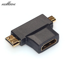 Malloom 2017 Universal 3 in 1 HDMI Female to Mini HDMI Male and Micro HDMI Male Adapter Connector High quality Black